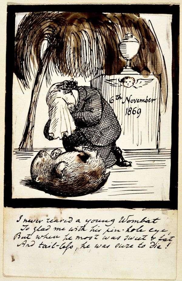 ウォンバットの墓で泣いている芸術家の自画像   Dante Rossetti