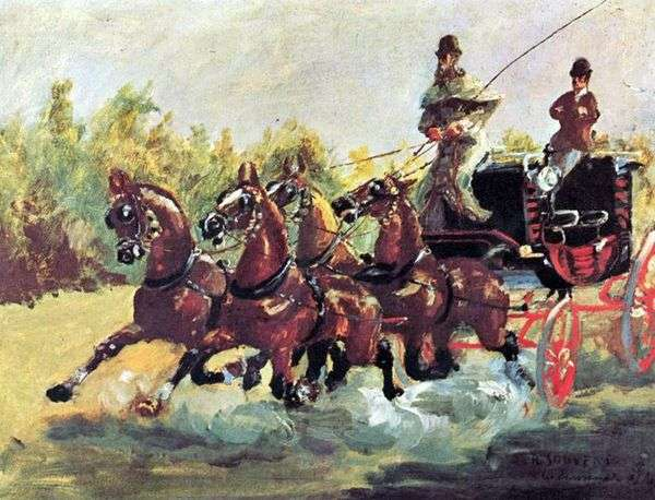 Alphons de Toulouse Lautrecが4頭の馬のそりを支配   アンリ・ド・トゥールーズ=ロートレック