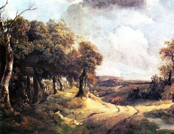 森の中の道と犬を連れた少年   Thomas Gainsborough