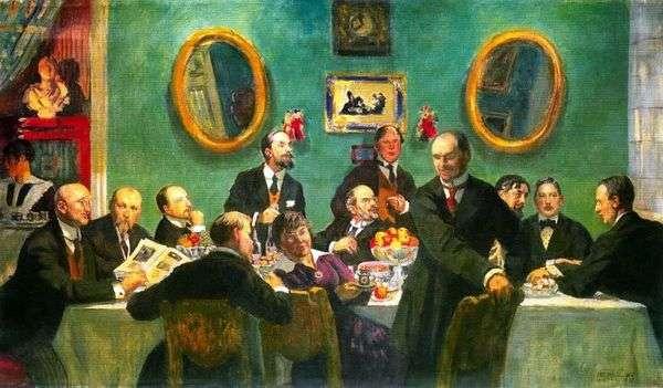 芸術の世界   Boris Kustodievの芸術家のグループの肖像画