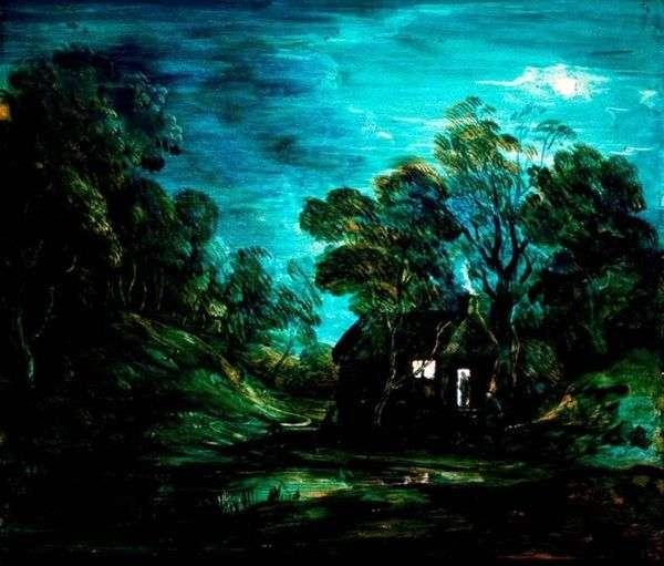 家のある月の風景   Thomas Gainsborough