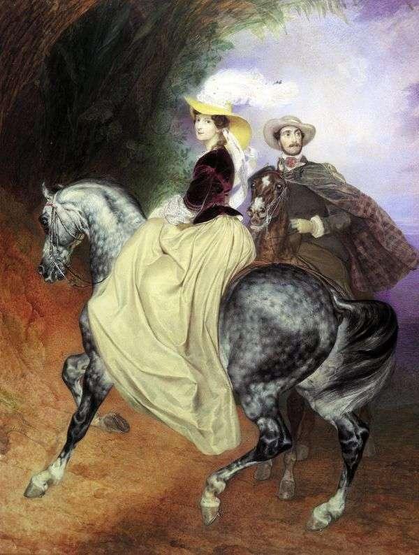 E. MussarとE. Mussarのペアの肖像   Karl Bryullov