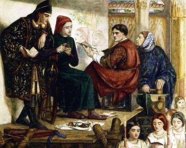 ジョットがダンテの肖像画を描く   William Michael Rossetti