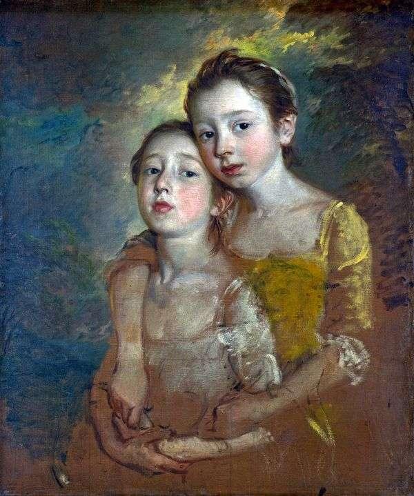 猫とアーティストの娘の肖像   Thomas Gainsborough