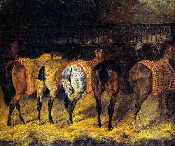 5頭の馬が馬小屋でクループになって   Theodore Gericault