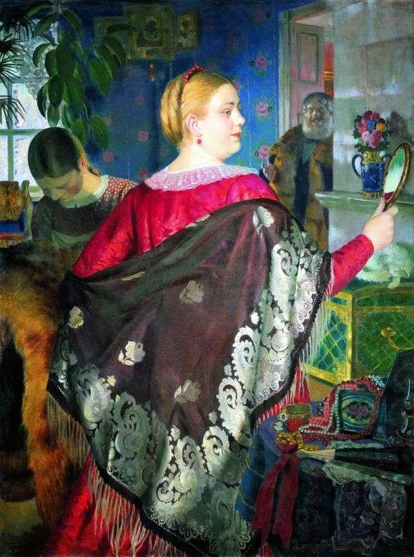 鏡を持った商人   Boris Kustodiev
