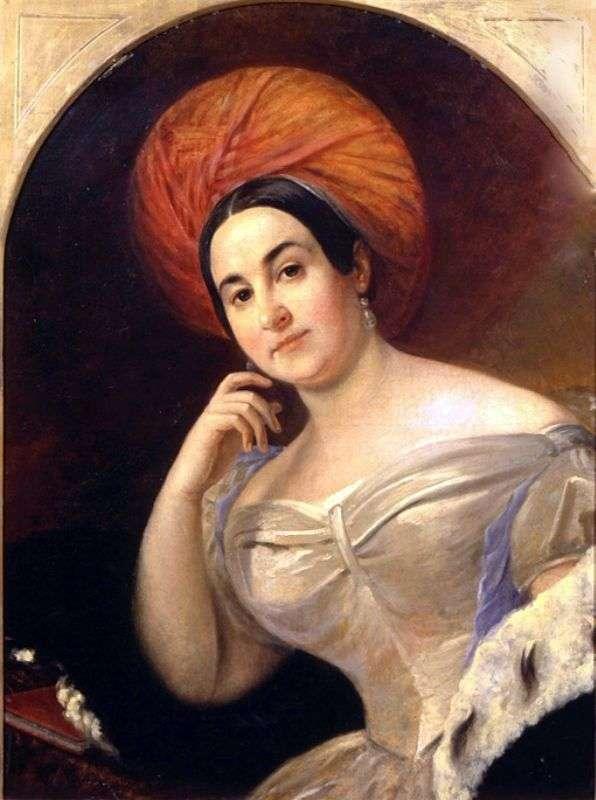 女優E. S. Semenova   Karl Bryullovの肖像