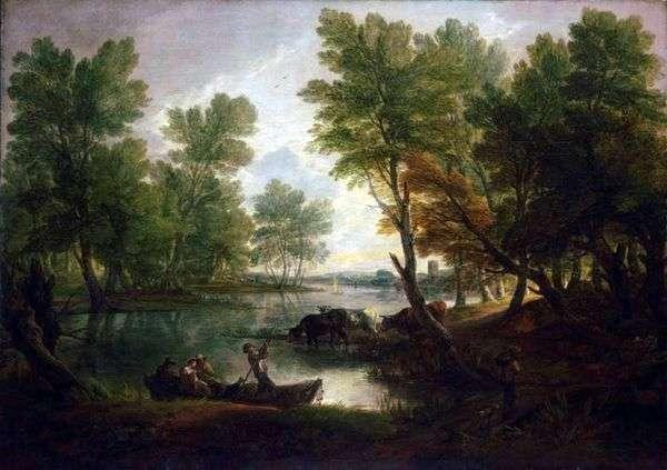 ボートの中で数字を持つ川の風景   Thomas Gainsborough