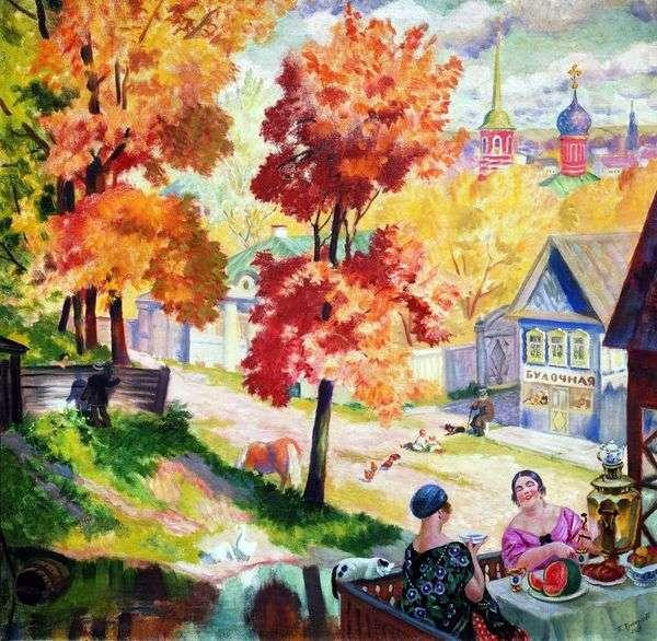 州の秋。お茶を飲む   Boris Kustodiev