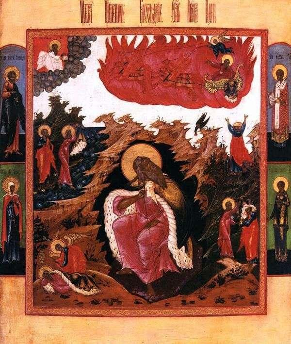 人生の情景と燃えるような浮上を伴う荒野の預言者エリヤ