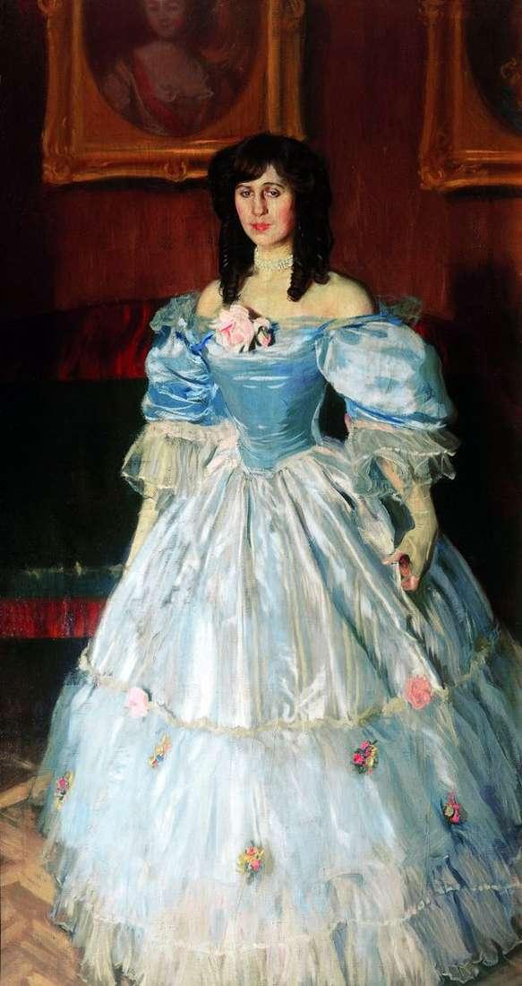 ブルーの女性の肖像   Boris Kustodiev
