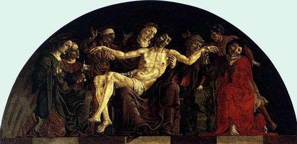 聖人とピエタ。フェラーラの聖ジョージの祭壇   Cosimo Tura