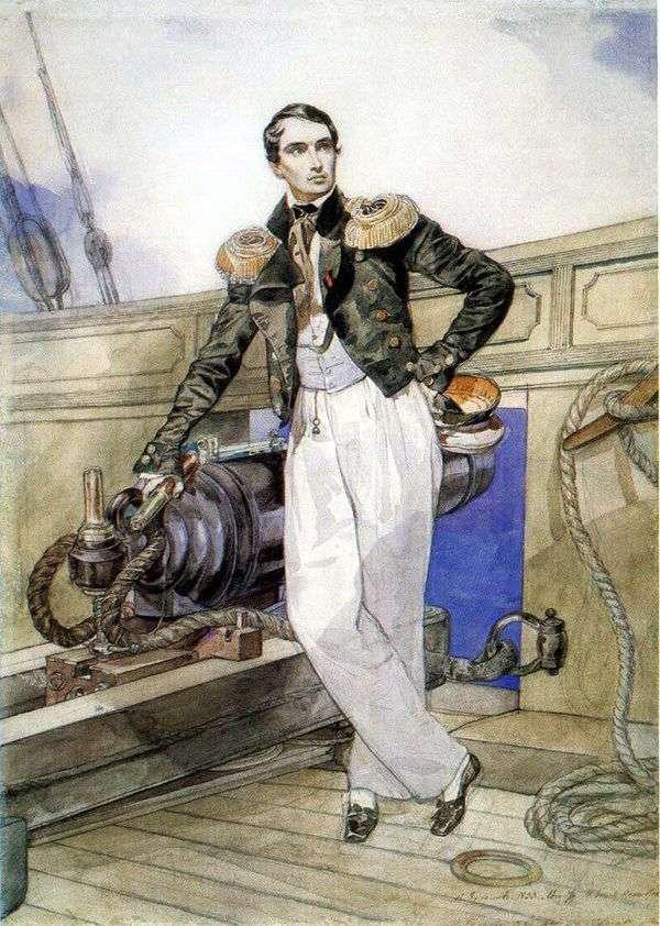 Themistokl brig   Karl Bryullovのボード上のウラジミールコルニロフの肖像画