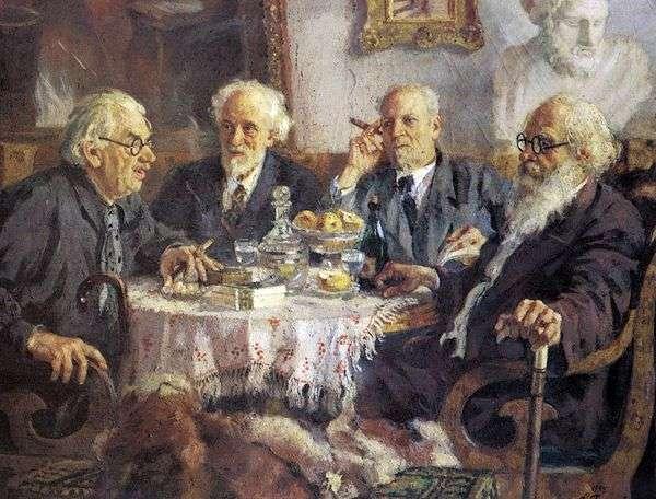 最古のソビエト芸術家I. Pavlov、V. Baksheev、V. Byalynitsky BirulyaおよびV. Meshkovの肖像   アレクサンダー・ゲラシモフ
