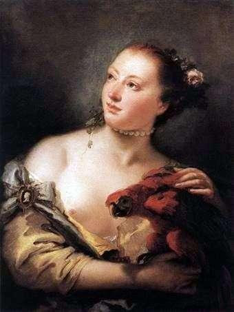 オウムを持つ少女   Giovanni Battista Tiepolo