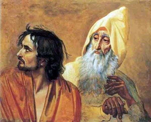 悔い改めた罪人の像(N. V. Gogol)。写真の断片   アレクサンドル・イワノフ