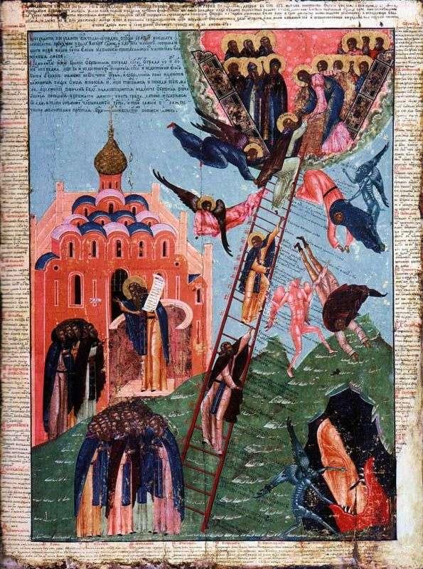 はしごの聖ヨハネと修道院の上昇のイメージ