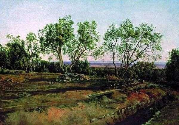 アルバーノの墓地でオリーブ。新しい月   アレクサンダーイワノフ