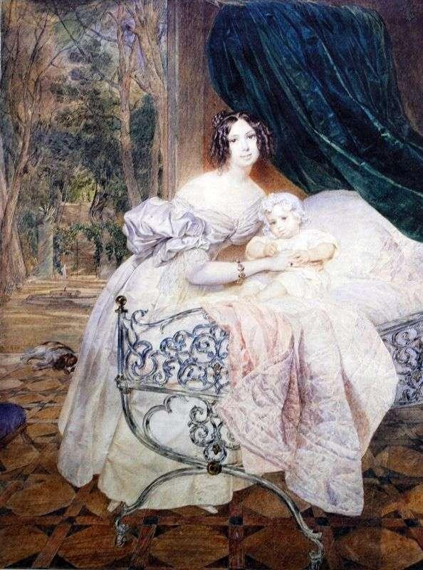 ミハイル・I・ブテネバと娘の肖像   カール・ブリリュロフ