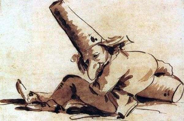 Pulcinelli、地面に座って   ジョヴァンニバティスタティエポロ