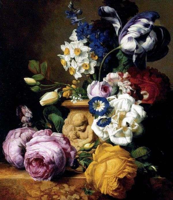 バラ、チューリップ、イルカ、シャクヤク、水仙の花瓶   Charles Joseph Nowd