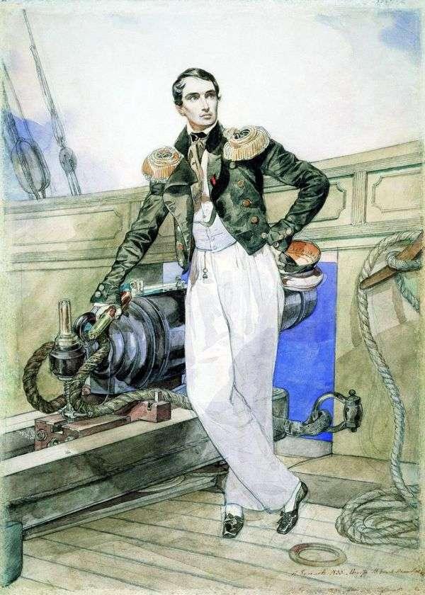 V. A. Kornilov   Karl Bryullovの肖像画