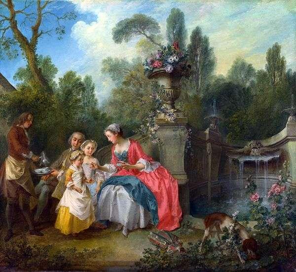 庭で二人の女の子と女性と紳士   Nicola Lancre