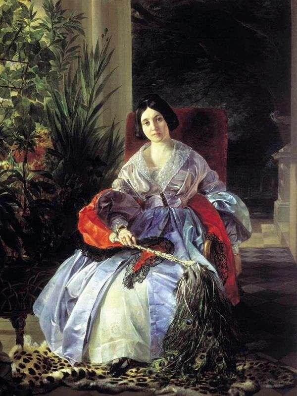 最も高い王女Elizaveta Pavlovna Saltykova   Karl Bryullovの肖像