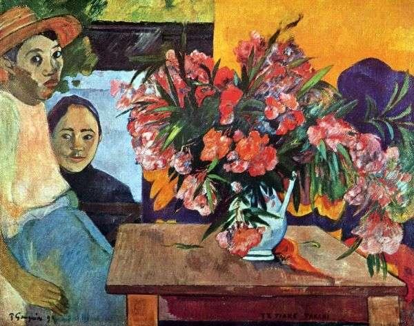 花とタヒチの子供たちの大きな花束   Paul Gauguin