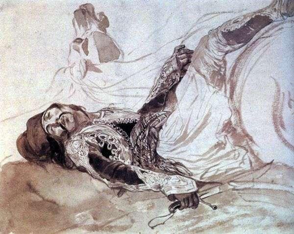 負傷したギリシャ人の馬からの倒れ   Karl Bryullov