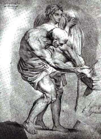 老人と束を持った若い男   Karl Bryullov