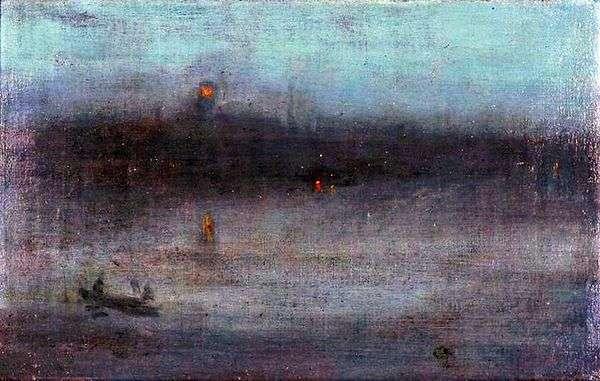 青と金の夜想曲:旧バタシーブリッジ   ジェームズウィスラー