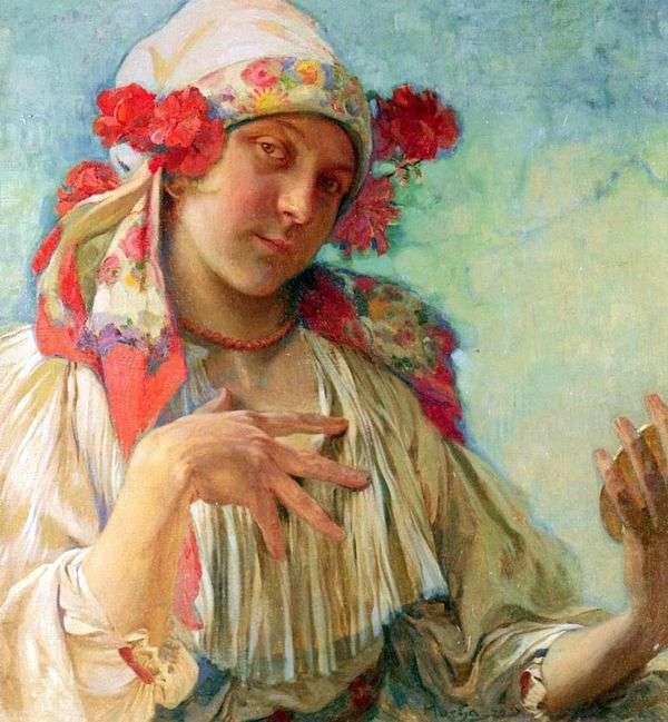 モラビアの衣装   アルフォンス・ミュシャの若い女の子