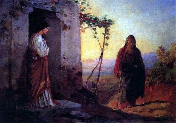 ラザロの姉妹、メアリーがイエス・キリストに出会い、彼らの家にやって来ます   Nikolai Ge