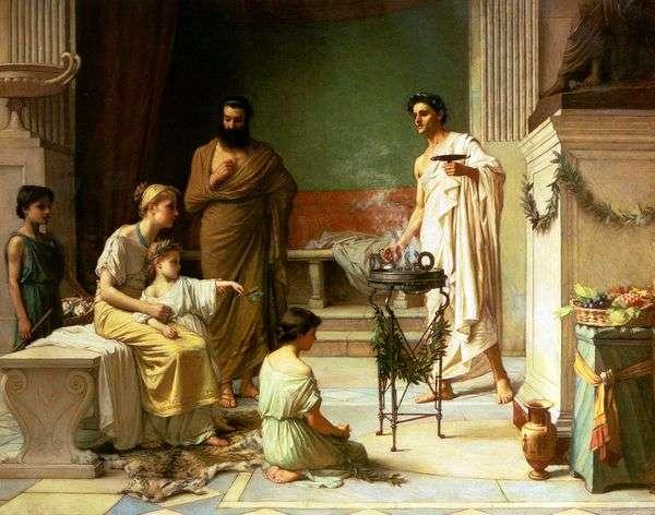 Aesculapius   ジョンウォーターハウスの神殿に持って来られる病気の子供