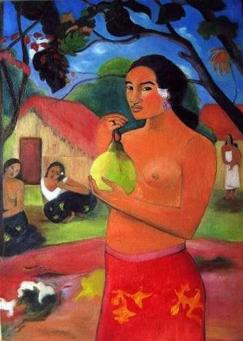 フルーツ   Paul Gauguinを保持している女性