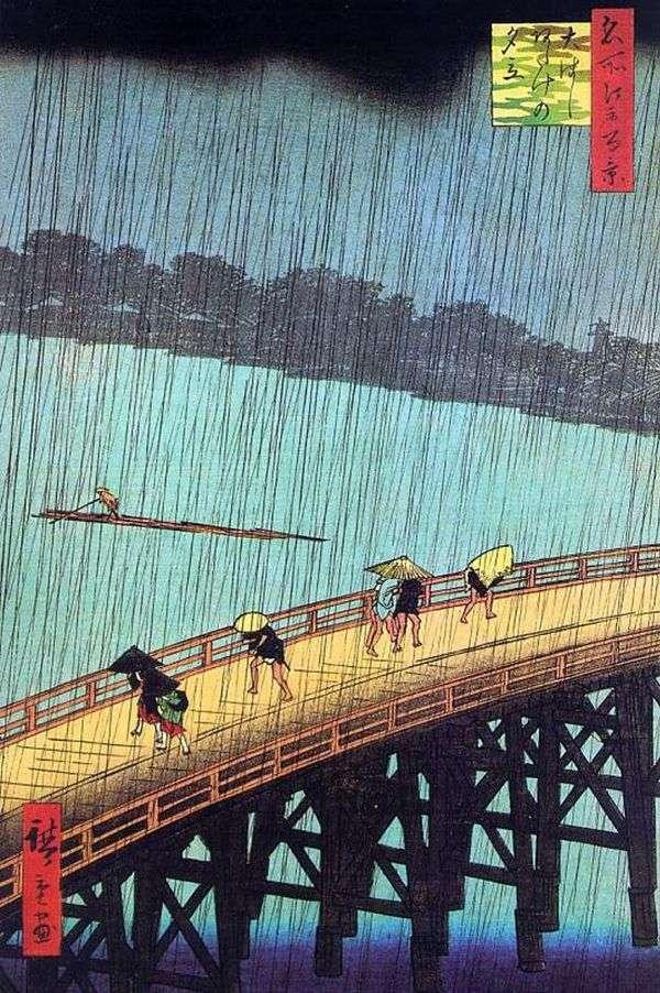 大橋とあけエリアの降雨量   安藤広重