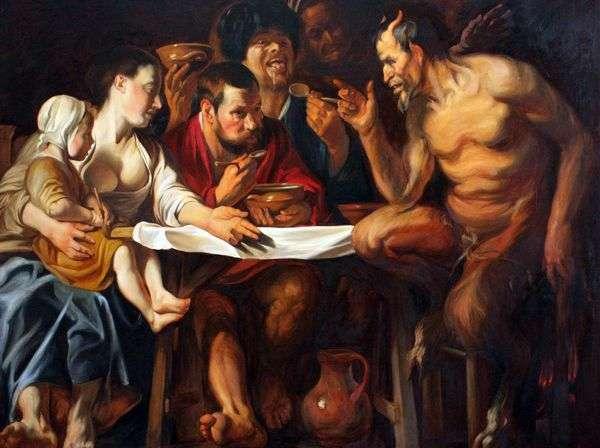 サテュロスが農民を訪問   Jacob Jordans