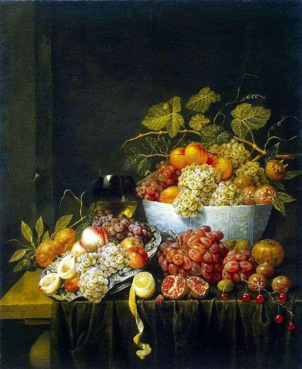ブドウのある静物   Adrian van Utrecht