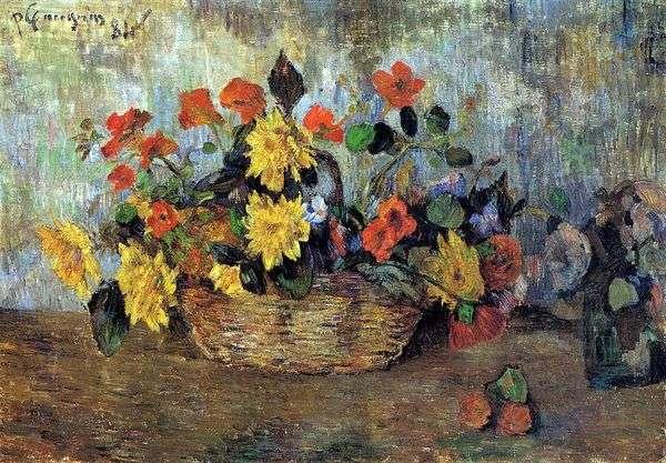 かごの中のキンレンカとダリア   Paul Gauguin