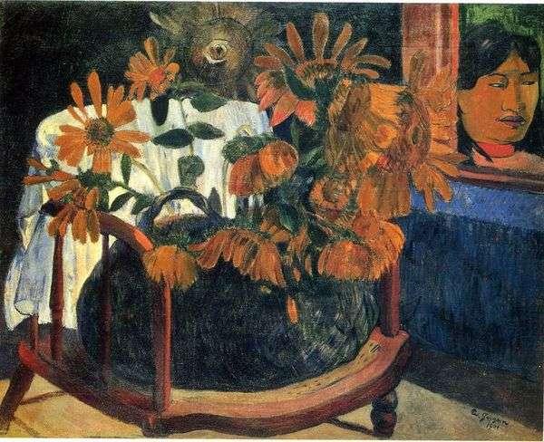 椅子にひまわりのある静物   Paul Gauguin