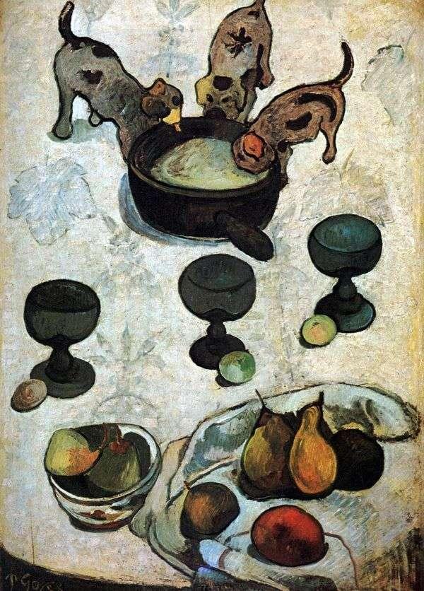 3匹の子犬のある静物   Paul Gauguin