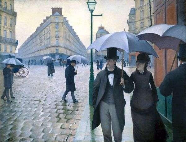 天候のパリの通り   Gustave Caibotte