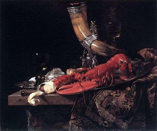 飲むホーン   ロブスターとグラス   ウィレム・カルフのある静物