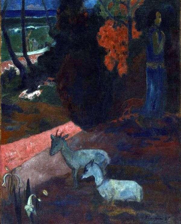 2匹のヤギのいる風景   Paul Gauguin