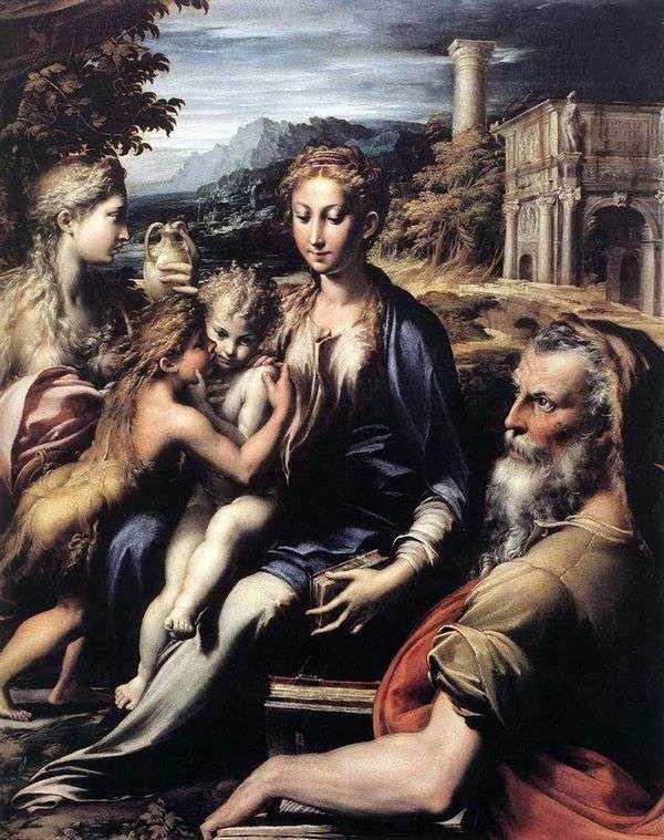 王位、Zechariah、洗礼者ヨハネ、Mary Magdalene   Francesco Parmigianinoのマドンナ