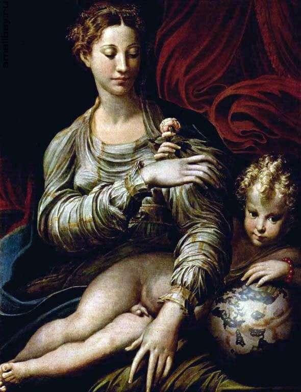 マドンナとバラ   Francesco Parmigianino