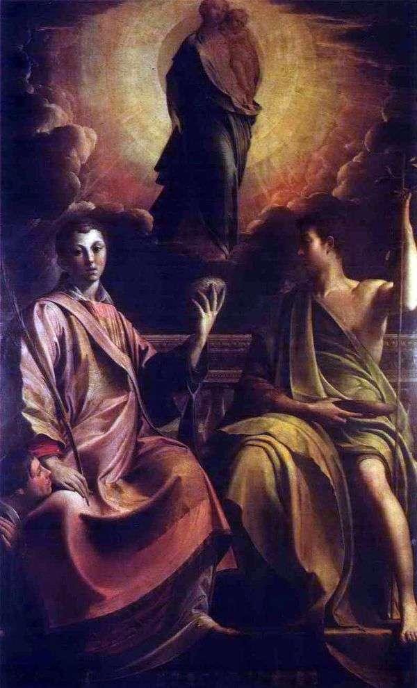 マドンナ、聖ステファンと洗礼者ヨハネ   Francesco Parmigianino