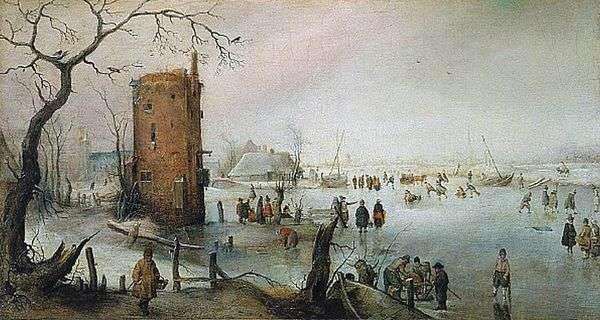タワー   Hendrick Averkampのある冬景色