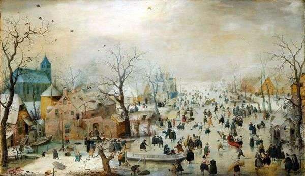 アイススケートと冬の風景   Hendrik Averkamp